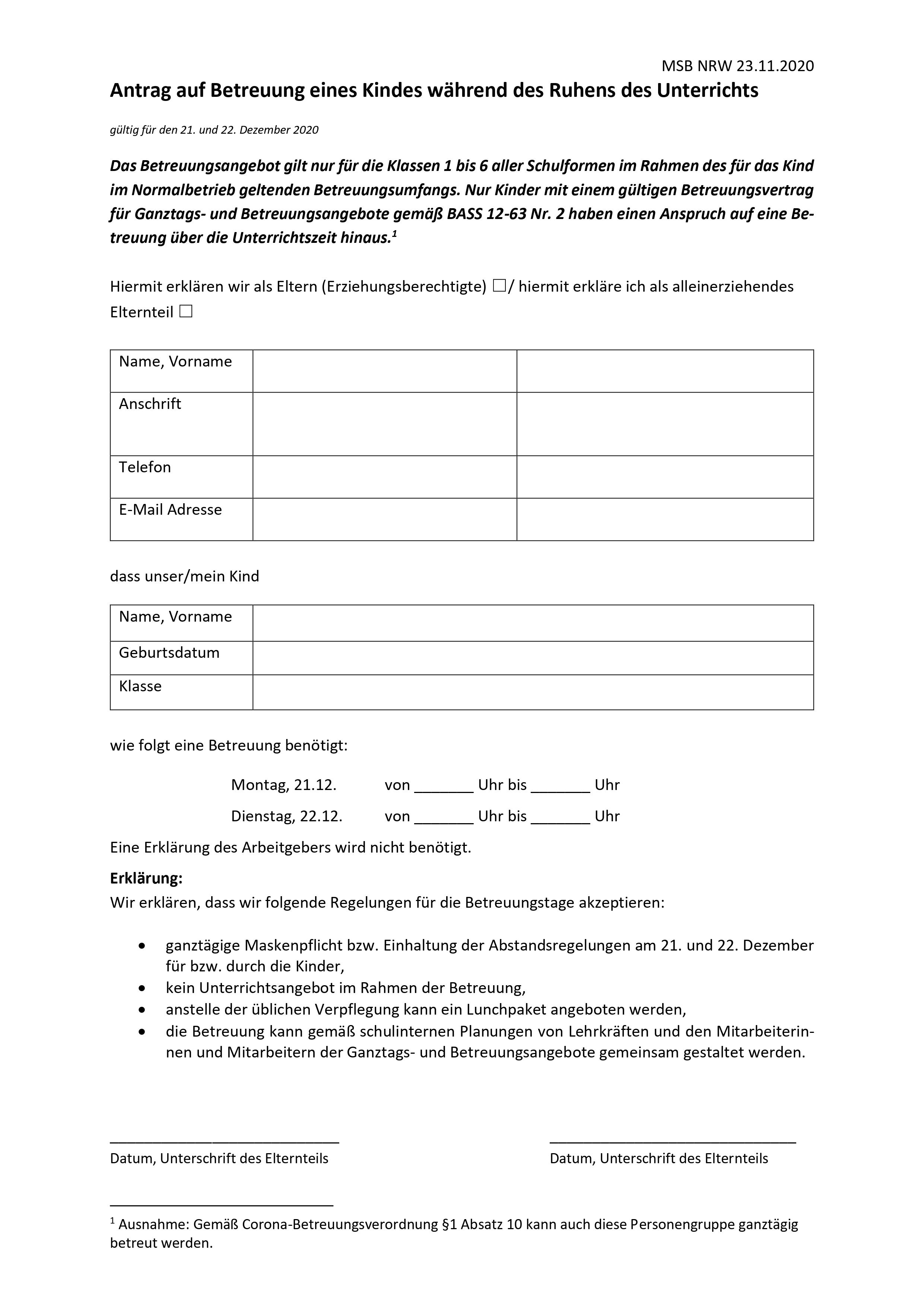 Antragsformular Notbetreuung Weihnachten 2020