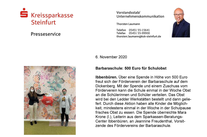Barbaraschule Foerderverein- 500 Euro Schulobst