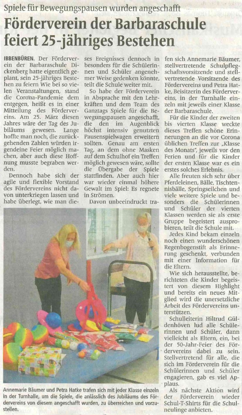 Foerderverin 25 j - Zeitungsartikel
